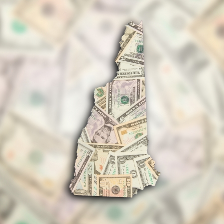 Map of New Hampshire filled with US dollars photo