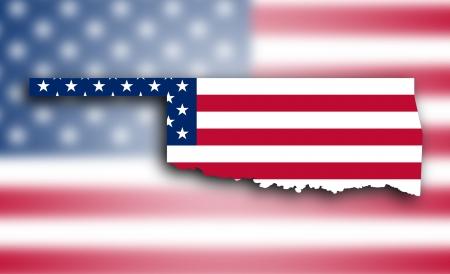 Carte de l'Oklahoma rempli avec le drapeau national