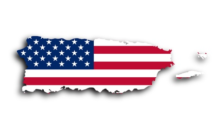 Map of Puerto Rico filled with the national flag photo