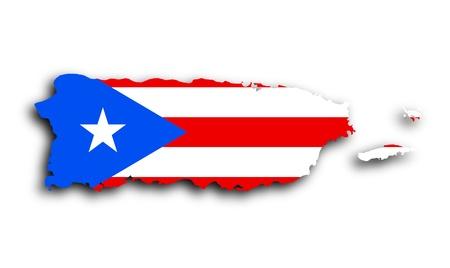 푸에르토 리코의지도 상태 플래그 가득