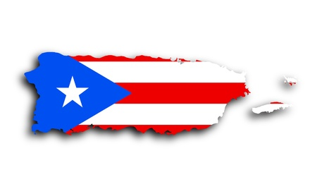Map of Puerto Rico filled with the state flag photo