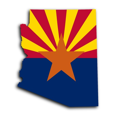 Map of Arizona, filled with the state flag photo