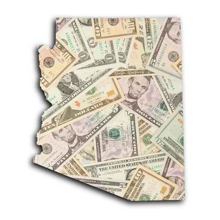 Map of Arizona, filled with US dollars photo
