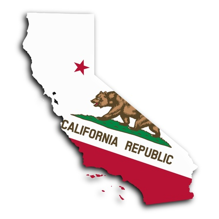 Map of California, filled with the state flag Standard-Bild