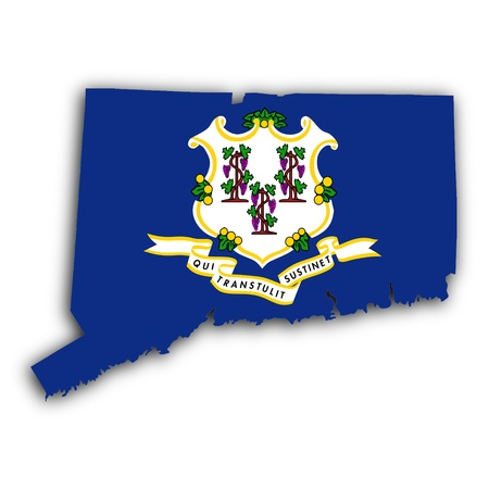 Map of Connecticut, filled with the state flag photo