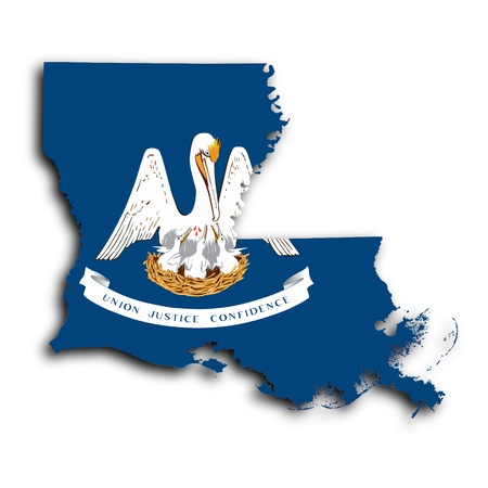 louisiana flag: Map of Louisiana, filled with the state flag