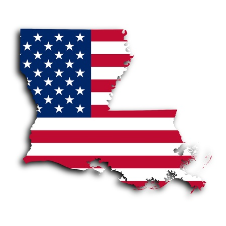 louisiana flag: Map of Louisiana, filled with the national flag
