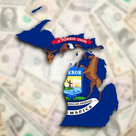 Map of Michigan, filled with the state flag photo