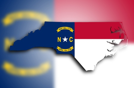 Map of North Carolina, filled with the state flag photo