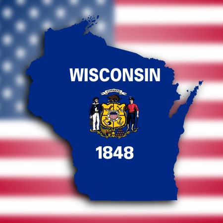 state wisconsin: Map of Wisconsin, filled with the state flag Stock Photo