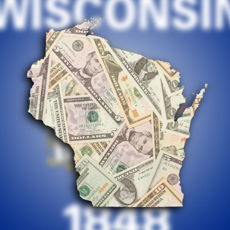 wisconsin flag: Map of Wisconsin, filled with US dollars