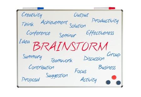 Brainstorm word cloud written on a whiteboard photo