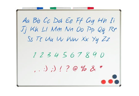Letters, numbers and punctuation marks on a whiteboard photo