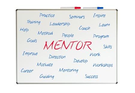 mentor: Mentor word cloud written on a whiteboard Stock Photo