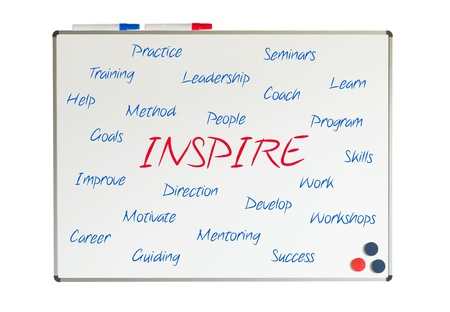 Inspire word cloud written on a whiteboard photo