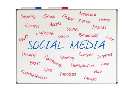 Social media word cloud written on a whiteboard, isolated on white Stock Photo - 19718621