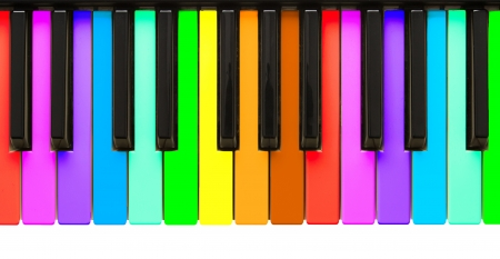 Rainbow piano keys, isolated on a white background photo