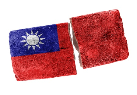 Rough broken brick, isolated on white background, flag of Taiwan photo
