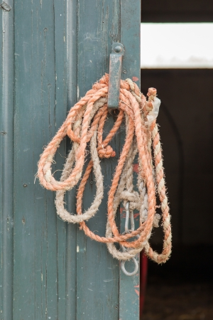 bonding rope: Old rope hanging at a door on a dutch farm Stock Photo