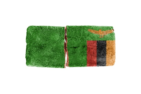broken brick: Rough broken brick, isolated on white background, flag of Zambia Stock Photo