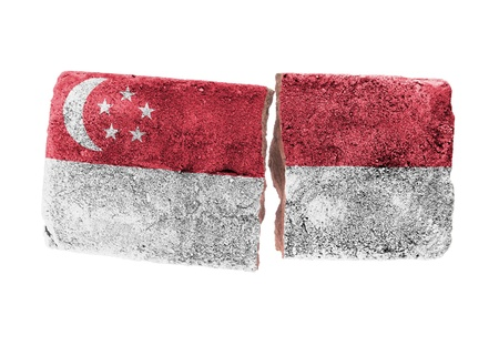 broken brick: Rough broken brick, isolated on white background, flag of Singapore