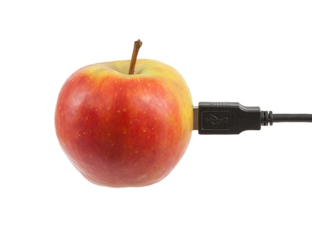 symbiosis: Science and nature symbiosis concept, apple and USB plug