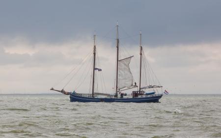 ijsselmeer: Large sailboat in the waters of the dutch Ijsselmeer, Holland Stock Photo