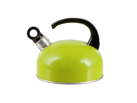 tetsubin: Green kettle isolated on a white background Stock Photo