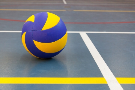 contestation: Blue and yellow ball on blue court at break time, school gym Stock Photo