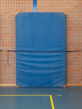 strapped: Large blue mat strapped to a brick wall, gym