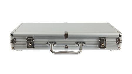 Silver metal briefcase isolated against a white background photo