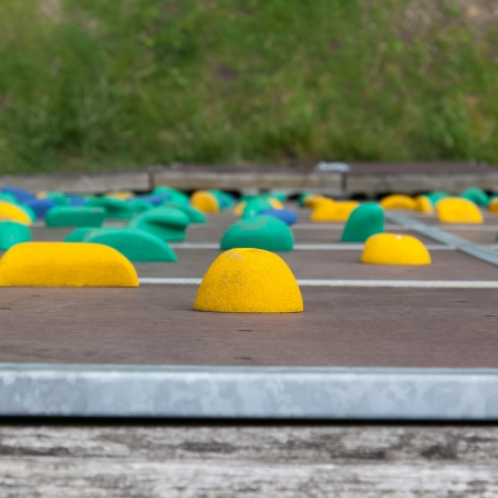 climbing  wall: Outside climbing wall, view from the top, selective focus