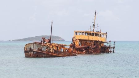 Unidentified sunken vessel at the coast of the Caribbean Isle of Saint Martin photo