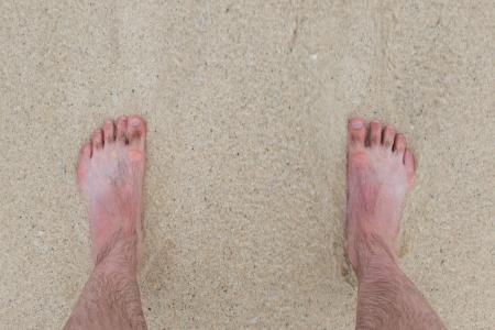 u�as pintadas: Ola Fast entra, pies parado en una playa