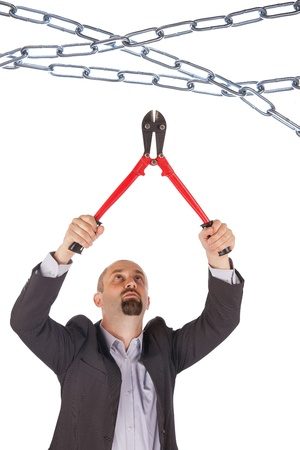 cadena rota: Concepto de gestión - Boss con boltcutters, aislado en blanco