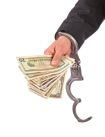busted: Business man in handcuffs arrested for bribe, isolated on white