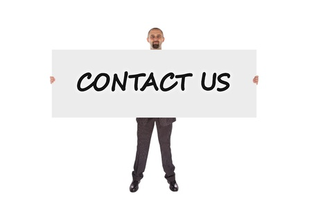 Business man showing large sign, Contact us photo