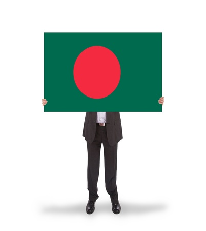 Businessman holding a big card, flag of Bangladesh, isolated on white photo