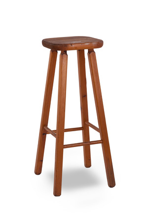 Old stool isolated on white background photo