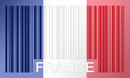 france painted: Flag of France, painted on barcode surface Stock Photo