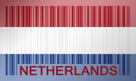 Flag of the Netherlands, painted on barcode surface photo