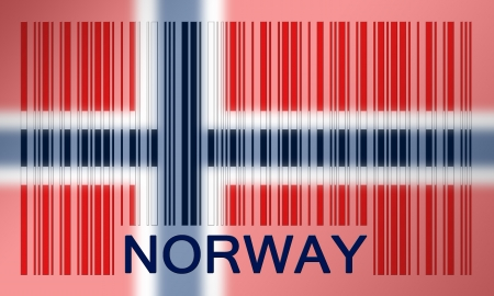 Flag of Norway, painted on barcode surface photo