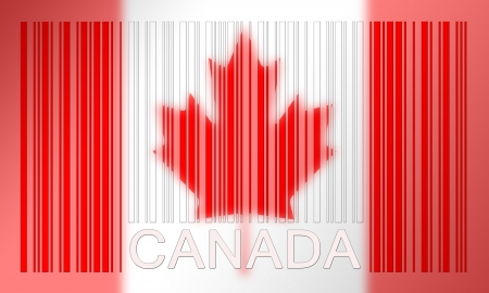 Flag of Canada, painted on barcode surface photo
