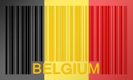 Flag of Belgium, painted on barcode surface photo