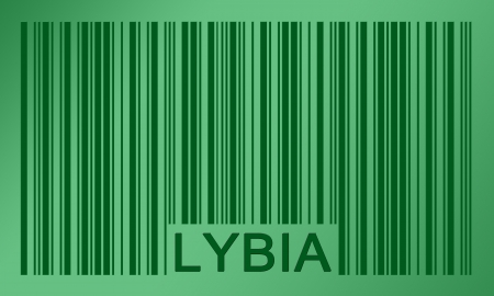 lybia: Flag of Lybia, painted on barcode surface Stock Photo