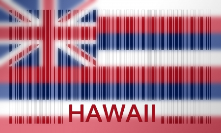 hawaii flag: Flag of the US state of Hawaii, painted on barcode surface Stock Photo