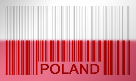 Flag of Poland, painted on barcode surface photo
