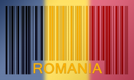 Flag of Romania, painted on barcode surface photo