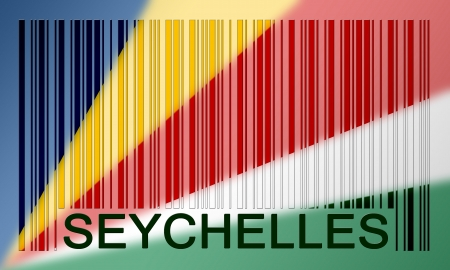 seychelles: Flag of Seychelles, painted on barcode surface Stock Photo