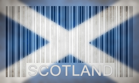 scotish: Flag of Scotland, painted on barcode surface Stock Photo
